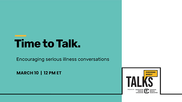 Time to Talk. Encouraging serious illness conversations. Banner